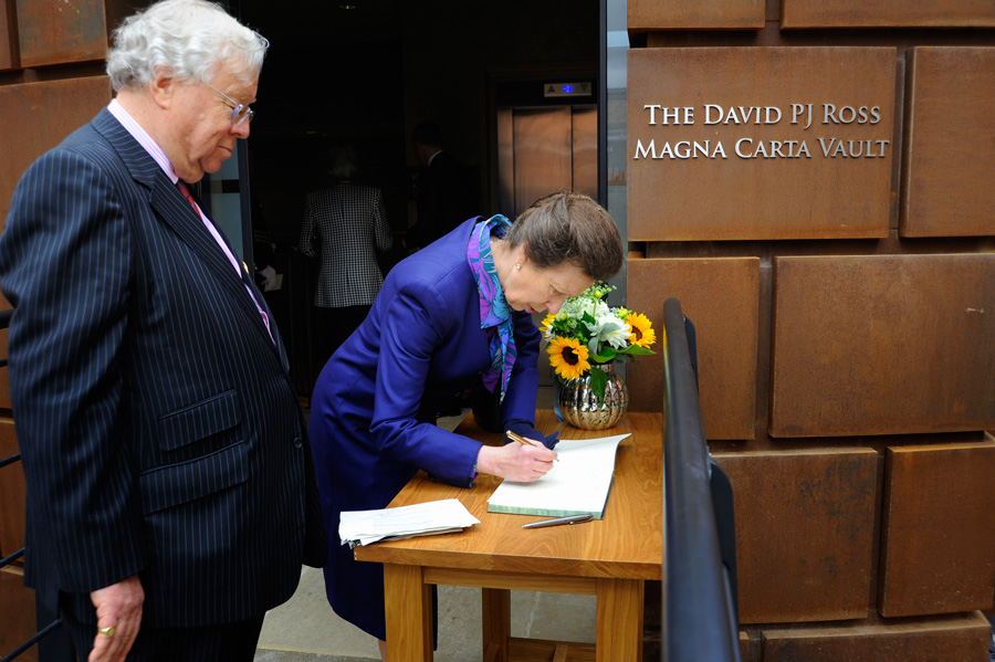 David Ross with Lord Cormack and HRH Princess Royal Magna Carta Vault opening